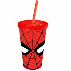 Spiderman Eyes 16oz Plastic Cold Cup w/Lid and Straw