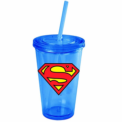 Superman Logo 16oz Plastic Cold Cup w/Lid and Straw