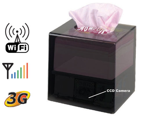 WiFi Tissue Box Hidden Camera w/ Remote Viewing - Click to enlarge