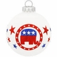 Republican Elephant Round Glass Ornament