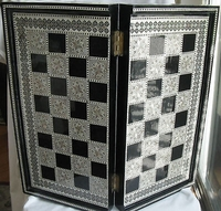 "Egyptian Inlaid Mother Pearl Wooden Backgammon Board 21"" Black color great    Sale !!!"