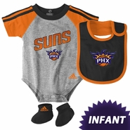 Phoenix Suns adidas Infant Creeper Bib & Bootie Set - Grey/Orange