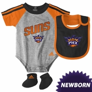 Phoenix Suns adidas Newborn Creeper Bib & Bootie Set - Grey/Orange