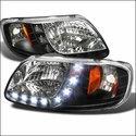Black 1 Piece LED Euro Headlights (97-03 All) - AT Lights 2LH-F150971PCJM-RS