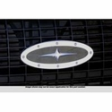 Grille Emblem Oval Race Style Polished With Black And Cross Insert, 9 in. Length (04-14 All) - AT Exterior 50907