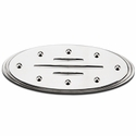 Grille Emblem Oval Step Style Polished With Rivets & Ball Milled Lines, 9 in. Length (04-14 All) - AT Exterior 50906