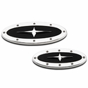 Grille & Tailgate Emblem Oval Race Style Polished With Black And Cross Insert, 9 in. Front & 7 in. Rear Length (09-14 w/ Camera) - AT Exterior 59707