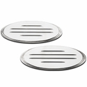 Grille & Tailgate Emblem Oval Step Style Polished With Ball Milled Lines, 9 in. Front & 9 in. Rear Length (04-14 w/o Camera) - AT Exterior 59901