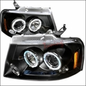 Black Dual Halo LED Projector Headlights (04-08 All) - AT Lights 2LHP-F15004JM-TM