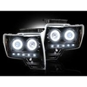 Recon Projector Headlights w/ CCFL Halo - Smoked Lens (09-14, excludes 13-14 Lariat, King Ranch, FX2, FX4, and Raptor with Factory HID's) - Recon 264190BKCC