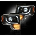 Recon Projector Headlights w/ High Power Amber Lens - Smoked Lens (13-14 with Factory Projectors) - Recon 264273BKC