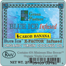 BLUE ICE� Infused Organic Virgin Coconut Oil-CAROB BANANA-Family Size
