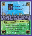 BLUE ICE Royal Butter Oil/Fermented Cod Liver Oil - Non-Gelatin Capsules