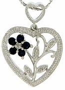 "0.26ctw Sapphire and Diamond Pendant in Sterling Silver with 18"" Chain"
