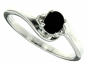 0.35ctw Black Sapphire and Diamond Ring in Sterling Silver