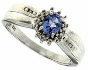 0.35ctw Tanzanite and Diamond Ring in Sterling Silver