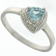 0.38ctw Sky Topaz and Diamond Ring in Sterling Silver