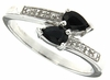 0.41ctw Black Sapphire and Diamond Ring in Sterling Silver