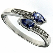 0.41ctw Tanzanite and Diamond Ring in Sterling Silver