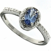 0.43ctw Tanzanite and Diamond Ring in Sterling Silver