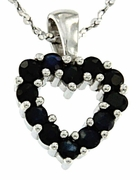 """0.48ctw Sapphire Pendant in Sterling Silver with 18""""Chain"""