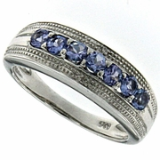 0.48ctw Tanzanite and Diamond Ring in Sterling Silver