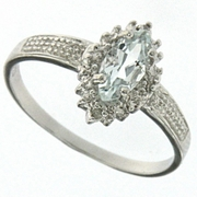 0.50ctw Aquamarine and Diamond Ring in Sterling Silver