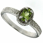 0.52ctw Peridot and Diamond Ring in Sterling Silver