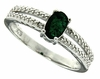 0.56ctw Emerald and Diamond Ring in Sterling Silver