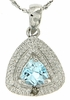 "0.59ctw Sky Topaz and Diamond Pendant in Sterling Silver with 18"" Chain"