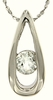 "0.58ctw White Topaz Pendant in Sterling Silver with 18""Chain"