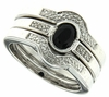 0.61ctw Black Sapphire and Diamond Ring in Sterling Silver (3 Pieces)
