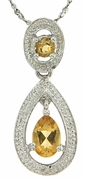 "0.61ctw Citrine and Diamond Pendant in Sterling Silver with 18"" Chain"
