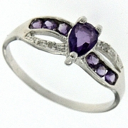 0.62ctw Amethyst and Diamond Ring in Sterling Silver