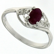 0.64ctw Ruby and Diamond Ring in Sterling Silver