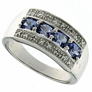 0.65ctw Tanzanite and Diamond Ring in Sterling Silver