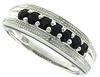 0.66ctw Black Sapphire and Diamond Ring in Sterling Silver