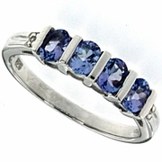 0.66ctw Tanzanite and Diamond Ring in Sterling Silver