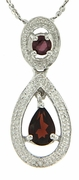 "0.73ctw Garnet and Diamond Pendant in Sterling Silver with 18"" Chain"