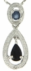 "0.73ctw Sapphire and Diamond Pendant in Sterling Silver with 18"" Chain"