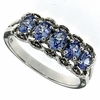 0.83ctw Tanzanite and Diamond Ring in Sterling Silver