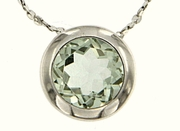 "0.85ctw Green Amethyst Pendant in Sterling Silver with 18"" Chain"