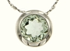 """0.85ctw Green Amethyst Pendant in Sterling Silver with 18"""" Chain"""