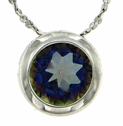 "0.85ctw Mystic Blueish Pendant in Sterling Silver with 18"" Chain"