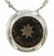 "0.85ctw Smokey Quartz Pendant in Sterling Silver with 18"" Chain"