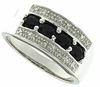 0.86ctw Black Sapphire and Diamond Ring in Sterling Silver