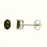 0.90ctw Smokey Quartz Stud Earrings in Sterling Silver