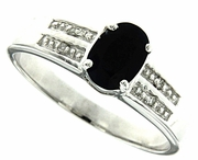 0.91ctw Black Sapphire and Diamond Ring in Sterling Silver