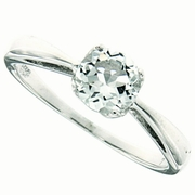 0.94ctw White Topaz and Diamond Ring in Sterling Silver