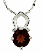 "1.01ctw Garnet Pendant in Sterling Silver with 18"" Chain"
